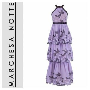 • Marchesa Notte • Floral Chiffon Tulle Gown •